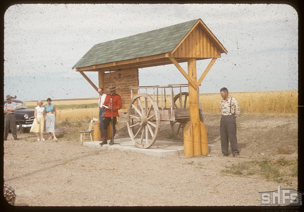 Red River cart  - Wood Mountain to Fort Walsh Trail - 17 miles south of Shaunavon.	 Shaunavon.	 08/24/1955