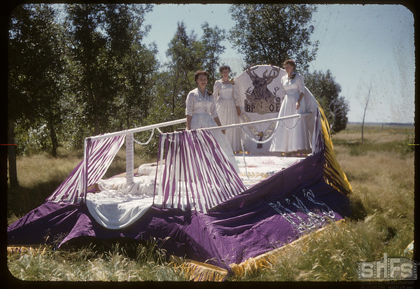 Jubilee Fair Parade - Elks float.  Shaunavon.  07/26/1955
