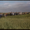 Test plot supervisors visit Garth Simpson's plot.  Shaunavon.  07/27/1956