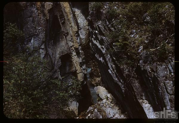 Rock strata Marble Canyon Falls.  Kooteney N. P..  09/28/1951
