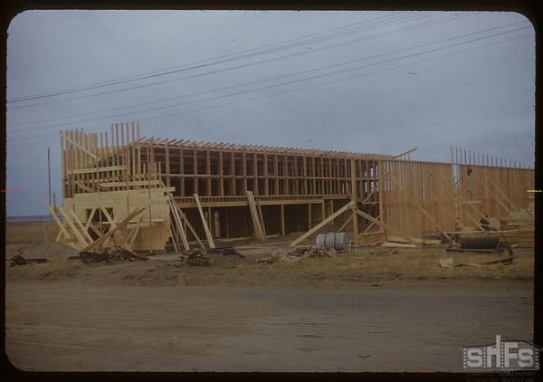 Beginings of Co-op lumber yard.  Shaunavon.  11/16/1954