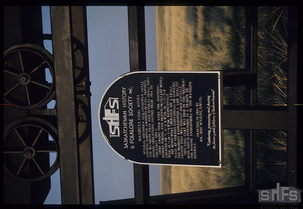 SHFS - LHM Plaque honouring the work of independent coal miners - 20 kms south of Mankota.  Mankota.  05/18/2000