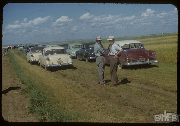 Supervisors Day - cars at Experimental Farm.  Swift Current.  08/19/1954