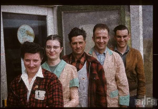 Co-op staff.  [people front to back - Marie (Trudeau) Cheriwhan; Nancy Stewards; George Demerse; John Kamerer (Store Manager) and Harley Hammond (Fuel Manager & may also have been General Manager]. Bracken. 04/16/1957