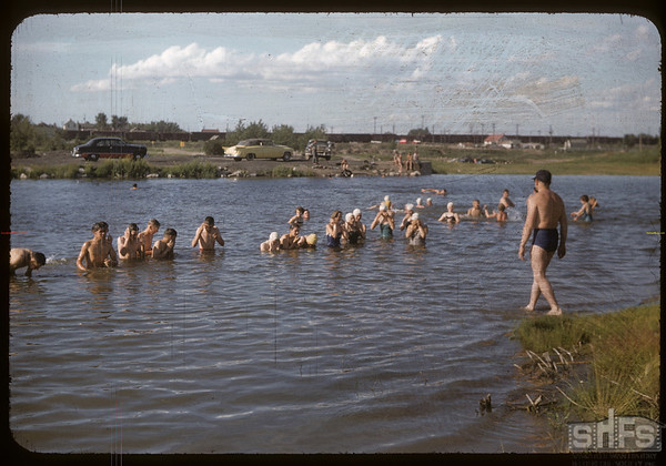 Co-op school - Bill Hamilton with swimming class.  Swift Current.  07/09/1956