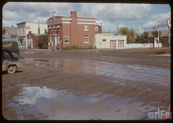 Centre Street after 3 inches of rain during August.  Shaunavon.  08/29/1951