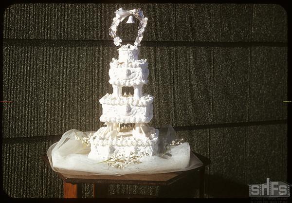 Maureen Fulton's wedding cake.  Shaunavon.  11/01/1956