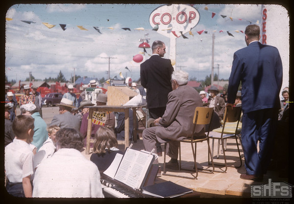Official opening of Co-op service station about to begin.  Shaunavon.  06/27/1957