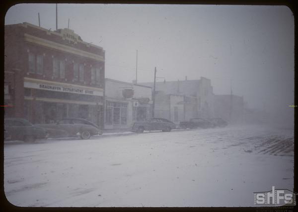Blizzard blowing through town.  Shaunavon.  04/10/1950