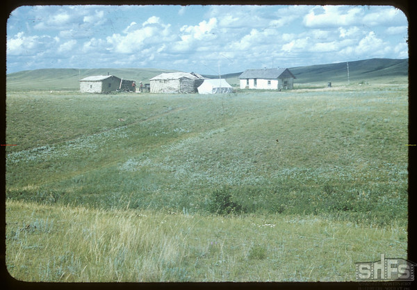 Home of Thomas Goodtrack.  Wood Mountain.  08/07/1954