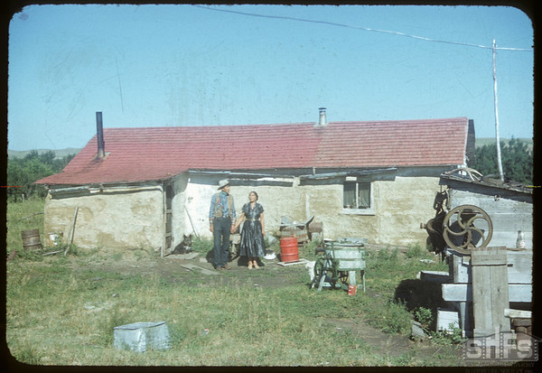 Billy Brown and blind wife at home - Billy Brown is son of Fred Brown who was a friend of Bill Ogle.  Wood Mountain.  08/07/1954