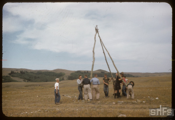 Eastend Boy Scouts Erect Tipi Poles.  South Fork.  08/24/1957