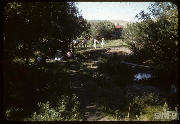 Road along S. F. Creek at Johnny Grobowski's.  South Fork.  06/10/1956