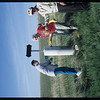 Repainting NWMP Trail Marker near Mankota - Velma Rosenburger - Pat Wagner & Henri Lebastard.  Mankota.  05/19/2000