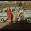 [Bonnie Mitchell; Judy Hyman & Dianne Halderman - looking east to Shaunavon Union Hosiptal - J. C. Hosie car? - picture donated to SHFS by Barrett Halderman].  Shaunavon.  10/16/1954