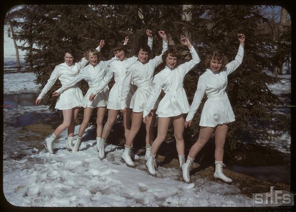 Skating Club - Jacquline Beggs - Mauna McMaster - Florence Pickett - Jean Osberg - Arlene Behrman and Isobel Green.  Shaunavon.  03/21/1950