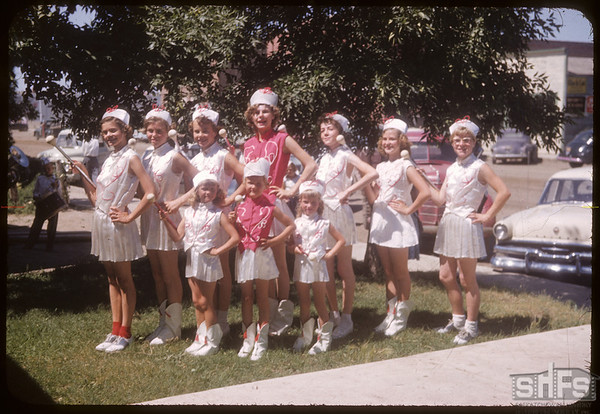 Junior and Senior majorettes - Shaunavon Fair.  Shaunavon.  07/20/1954