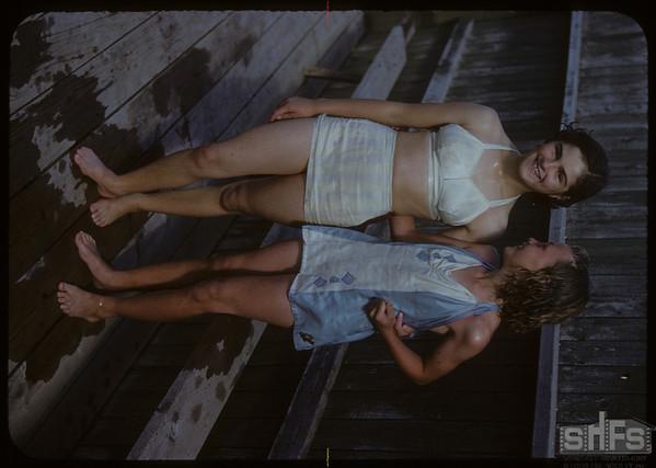 Shaunavon swimming pool - Joanne Gajek and Elsie Herrick.  Shaunavon.  07/18/1950