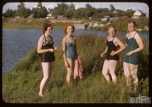 District 3 co-op school girls - Mary Oliver - Joanne Nickish - Sharon Kemfer and Louise Kemfer.  Swift Current.  07/09/1956
