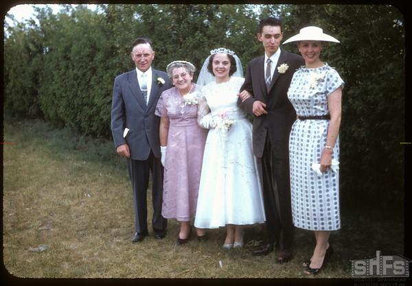 Hall - Jameison wedding; bride & groom and parents.  Shaunavon.  06/01/1957