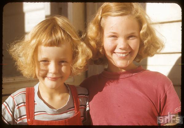 Connie and Elaine Blezard.  Shaunavon.  08/21/1952