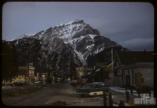 Looking north up main street..  Banff.  01/14/1958