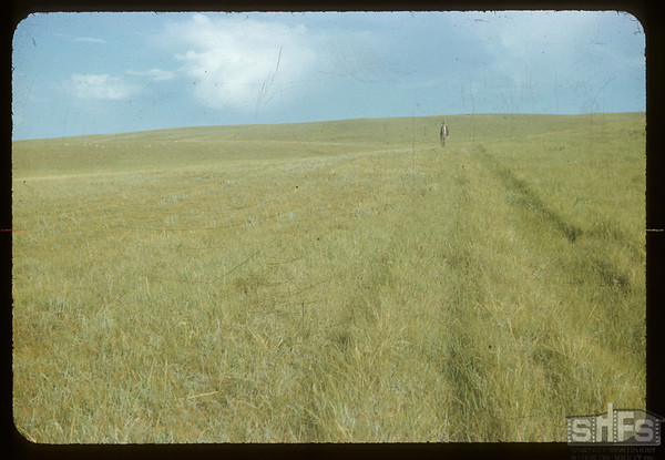 Harry Otterson on NWMP Trail of '82 - south his old buildings.Climax. 08/10/1954