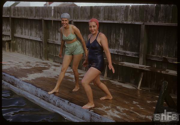Shaunavon swimming pool - Mrs. Len Swailes and Mrs. George Smith.  Shaunavon.  07/13/1950