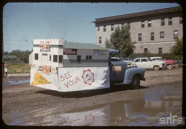 Jubilee Fair Parade - Co-op Lumber Yard Float.  Shaunavon.  07/26/1955