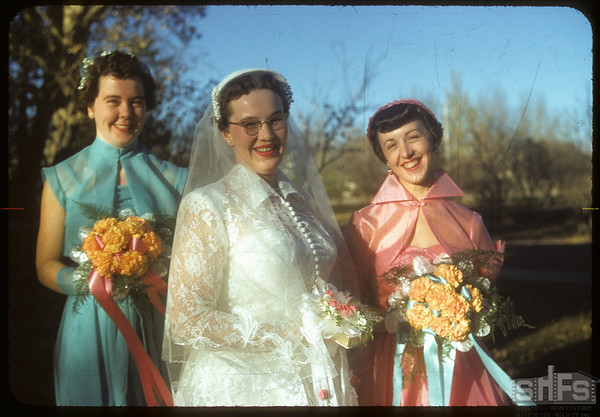Hossie - McKercher wedding; bride and bride's maids.  Shaunavon.  10/16/1954