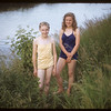 Swimming in the river - Lela Duke and Jackalene Bascom.  Swift Current.  07/09/1953