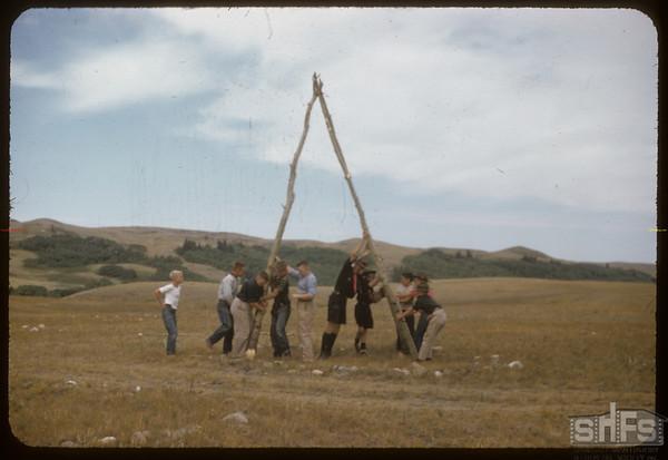 Eastend Boy Scouts Erect Tipi Poles.  South Fork.  08/24/1957