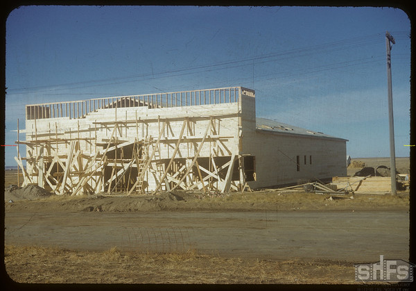 Beginings of Co-op lumber yard.  Shaunavon.  11/16/1954