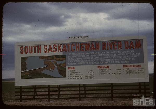 Billboard outlining construction of Gardiner Dam - SW of Strongfield.  Strongfield.  06/09/1959