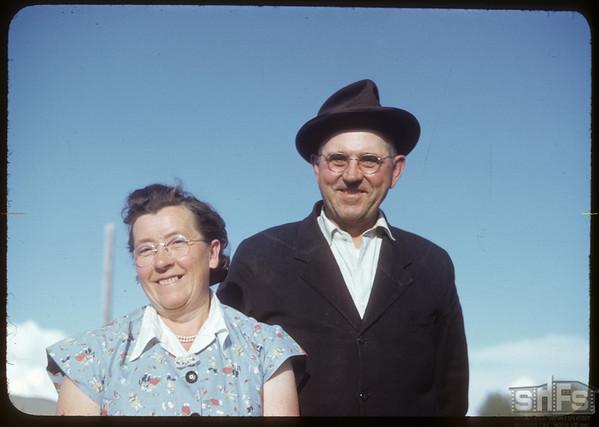 Mr & Mrs Henry Kronberg at Bloome picnic.  Shaunavon.  07/02/1951