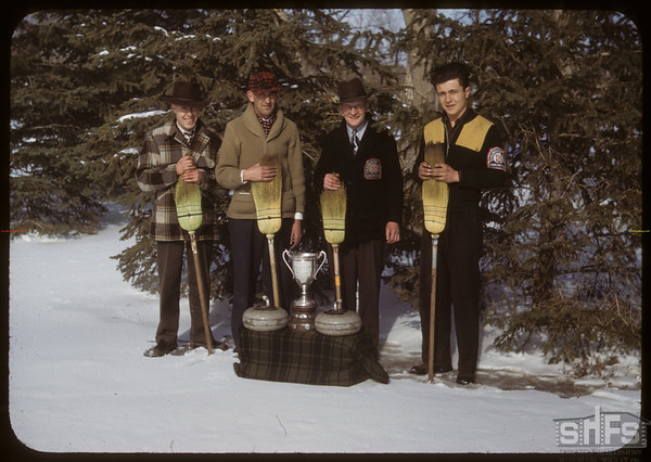 "Curling ""The Winners"" Lytle Cup & Grand Aggregate - Don Hesch - Hank Bryson - Tom Webster (Skip) and Herman Dupmeiere. Shaunavon. 04/09/1950"