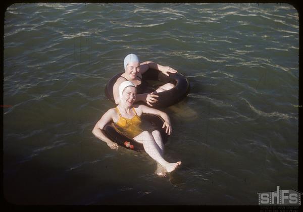 Shaunavon swimming pool - Laura Betler and Vivian Hossie.  Shaunavon.  07/17/1954