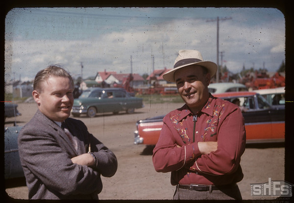 George Baker and George Porteous at official opening Co-op Sevice Station..  Shaunavon.  06/27/1957