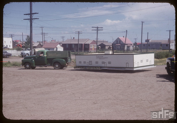 Co-op Creamery float - fair parade.  Shaunavon.  07/20/1954
