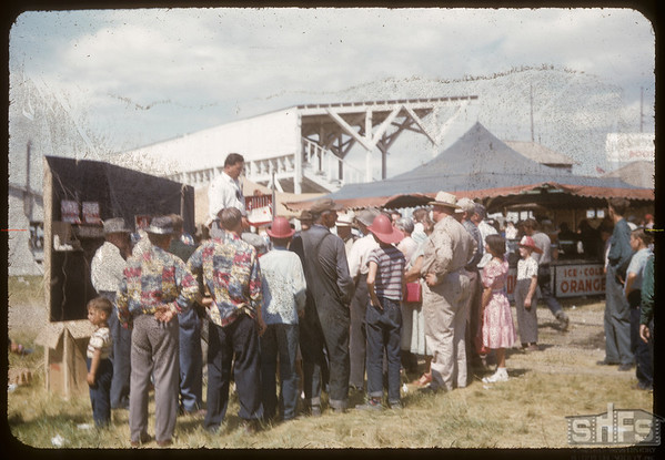 "Shaunavon Fair - ""The Barker"".  Shaunavon.  07/27/1955"