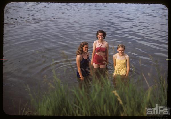 Swimming in the river - Lela Duke & Margaret Armistead and Jackalene Bascom.  Swift Current.  07/09/1953