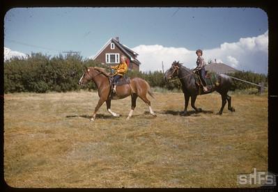 On horse back - Donna McCann [right] & Tova Christian [Correction: 'Christansen', Tova Lamotte 2016], Admiral, 08/05/1955