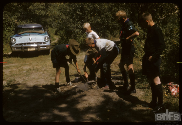Eastend Boy Scouts Digging Up the Dinner.  South Fork.  08/24/1957