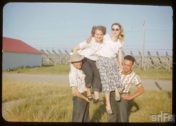 Co-op school participants - Carl Reid - Edith Gerring - Shiela Orr & Don Heisler.  Swift Current.  07/12/1951