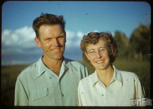 Mr & Mrs Don Meinert at Bloome picnic.  Shaunavon.  07/02/1951