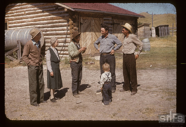 Carl Westerlund - Lloyd Hart - Gab Lavielle and Joe Lavielle. Gab Lavielle died Jan 3 1959. Fort Walsh. 08/28/1955