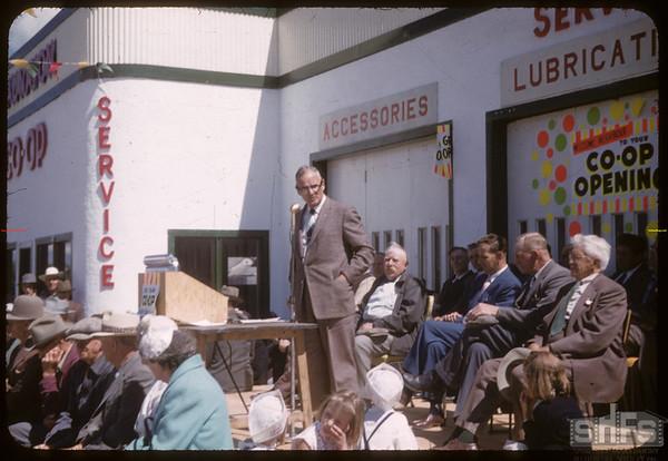 Loui Lloyd providing main address opening of Co-op service station.  Shaunavon.  06/27/1957