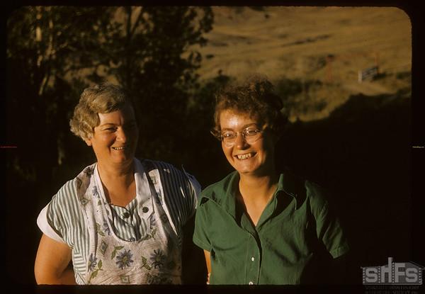 Mrs Joe White and Ethel..  Shaunavon.  08/23/1957