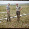 Pete Rymes and Don Read checking out irrigation system.  Swift Current.  07/07/1953