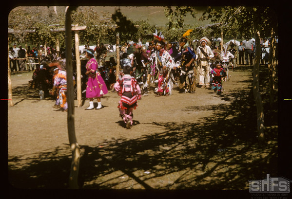 Young and old at Sioux pow wow.  Fort Qu'Appelle.  08/18/1957